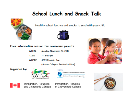 School Lunch and Snack Talk - 7 pm, Monday, November 27, 2017