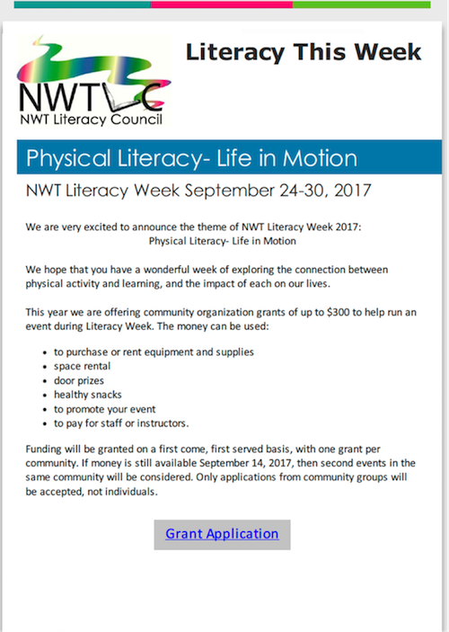 Special NWT Literacy Week announcement