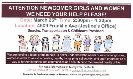 Forum on Recreation with Newcomer Women and Girls, March 25